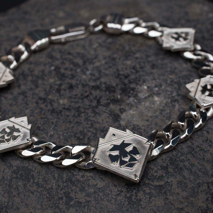 Braccialein argento con platinatura