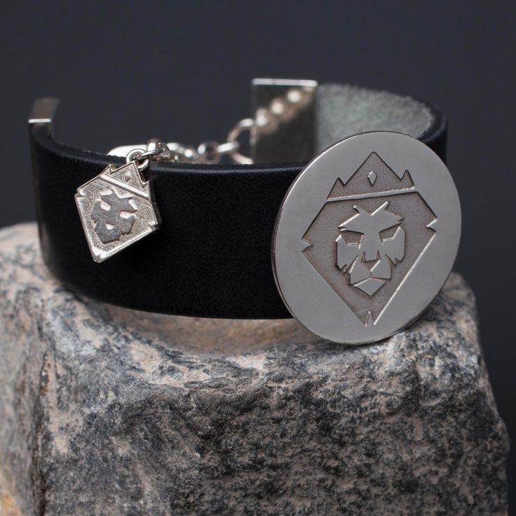 bracciale in pelle, argento 925