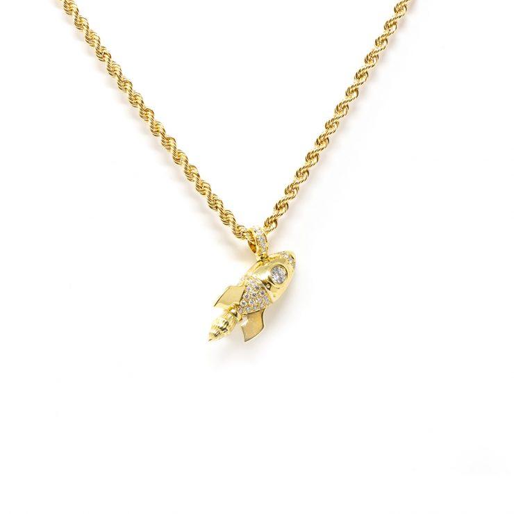 ciondolo emoji razzo oro brillanti diamanti risivi lab