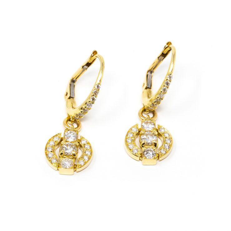 orecchini oro giallo diamanti brillanti risivi lab
