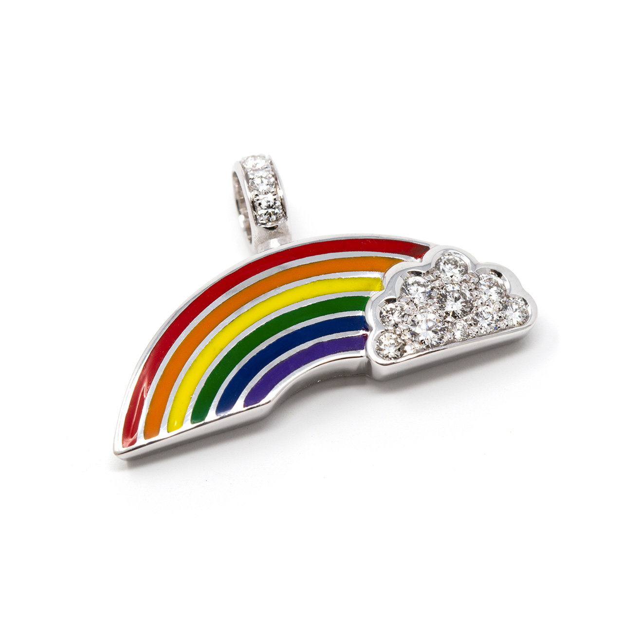 ciondolo emoji arcobaleno oro diamanti brillanti smalti risivi lab