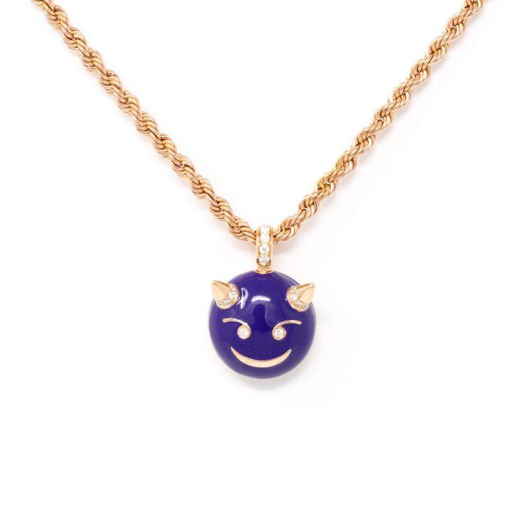 ciondolo emoji diavolo oro diamanti smalto
