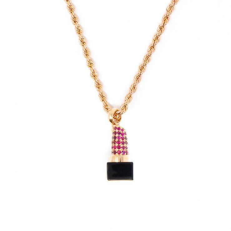 ciondolo emoji rossetto oro rubini nano-ceramica risivi lab
