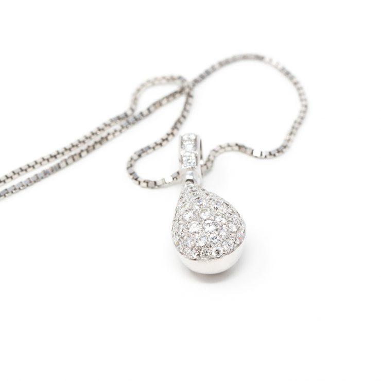 ciondolo emoji goccia oro bianco diamanti brillanti risivi lab