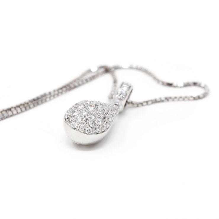 ciondolo emoji goccia oro bianco diamanti brillanti