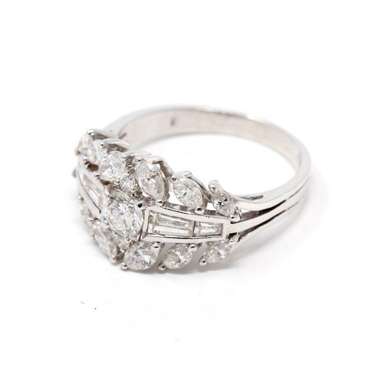anello caesar oro bianco 18 kt diamanti marquise baguette