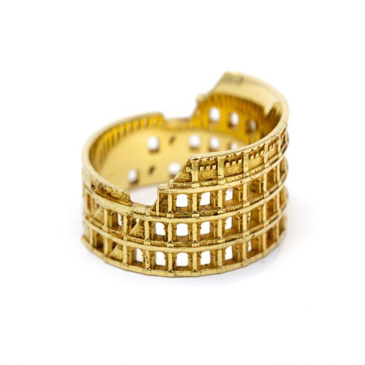 anello colosseo roma oro giallo 18 kt risivi lab