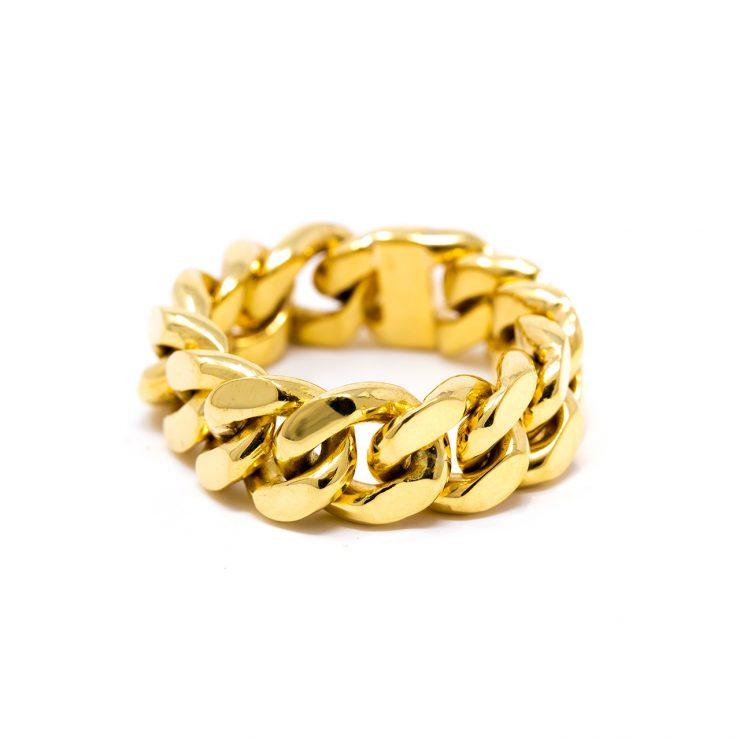 anello cuban oro giallo 18 kt groumette