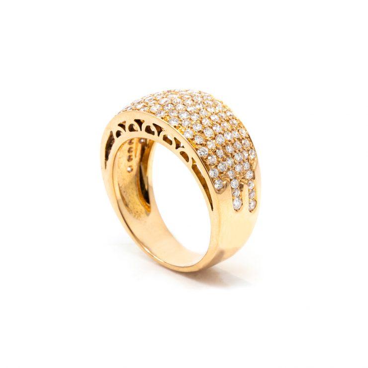 anello fascia goccia oro rosa 18 kt diamanti brillanti risivi lab
