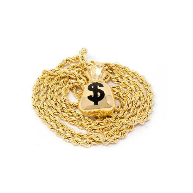 ciondolo emoji sacco soldi oro giallo smalto nero
