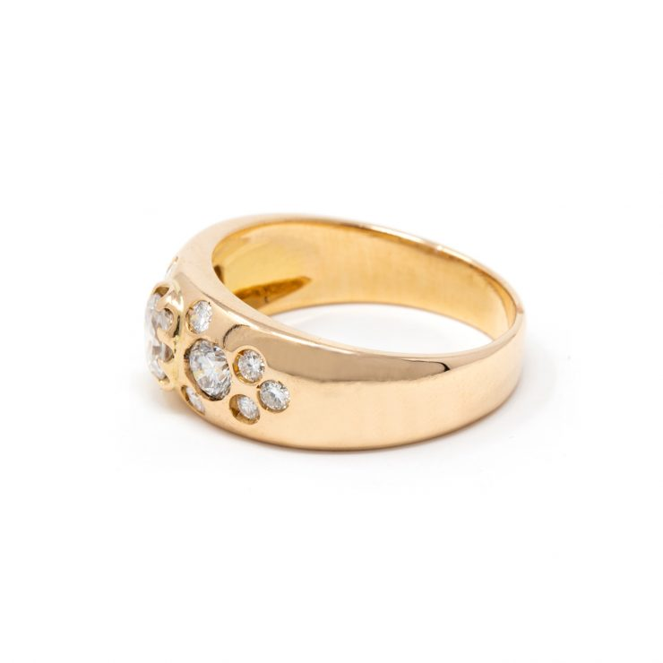 anello fascia oro rosa 18 kt diamanti brillanti