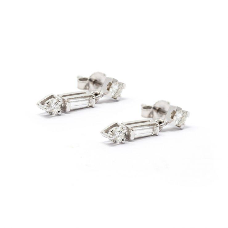 orecchini frecce pendenti oro bianco diamanti risivi lab