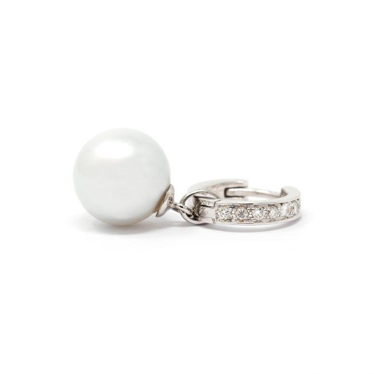 orecchini cerchio oro bianco diamanti perle roma