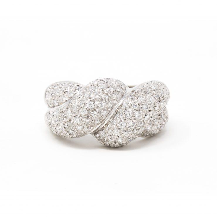 anello fascia nodo oro bianco 18 kt diamanti brillanti roma