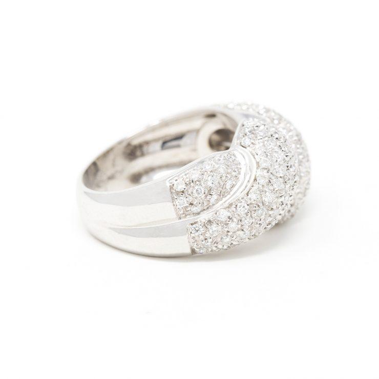 anello fascia nodo oro bianco 18 kt diamanti brillanti risivi lab