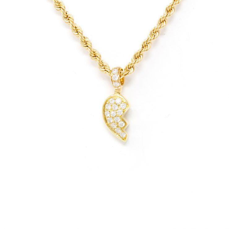 ciondolo cuore spezzato oro giallo 18 kt diamanti brillanti roma