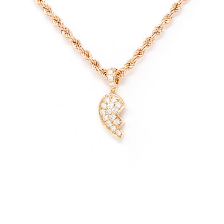 ciondolo cuore spezzato oro rosa 18 kt diamanti brillanti roma