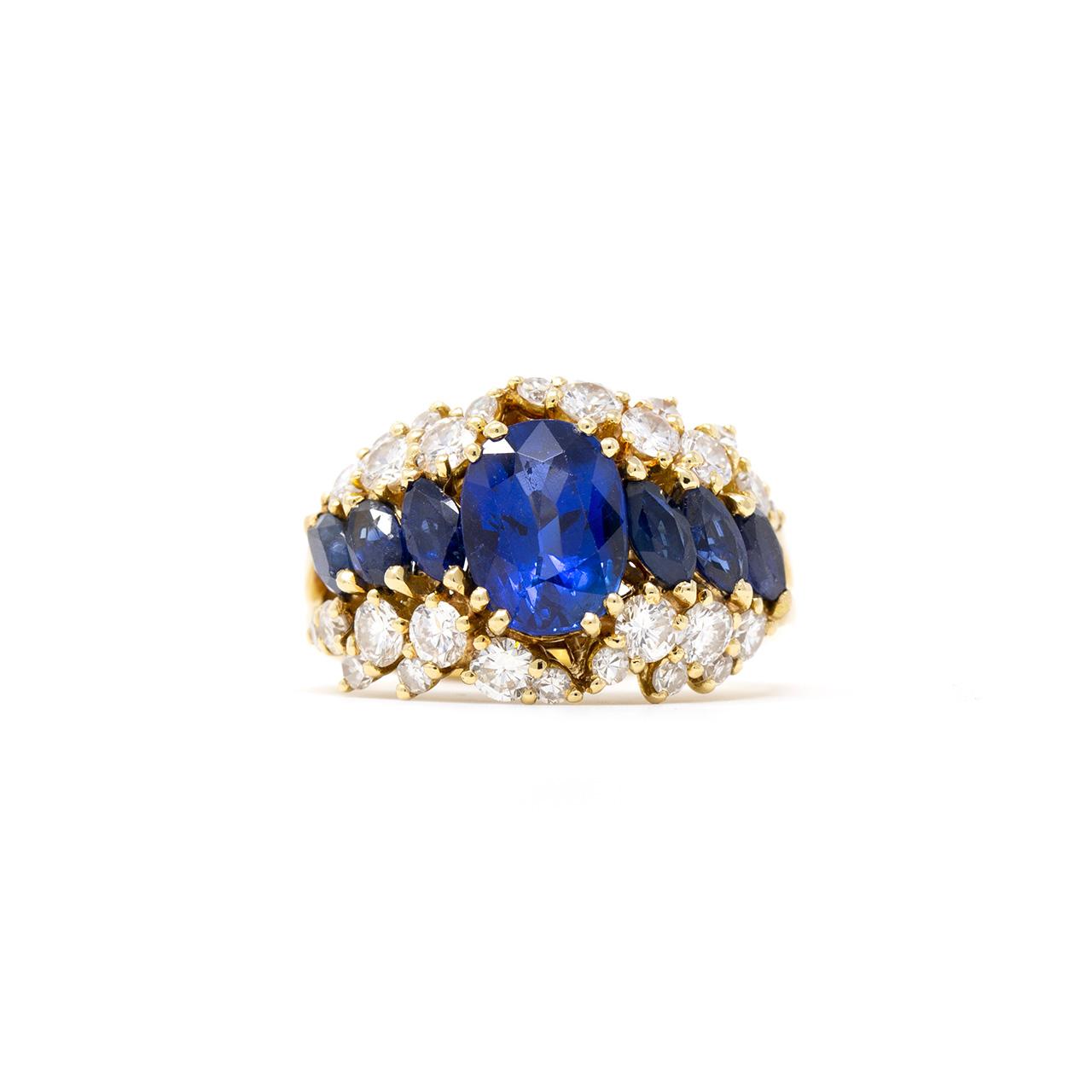 anello fascia oro giallo zaffiro diamanti brillanti risivi lab