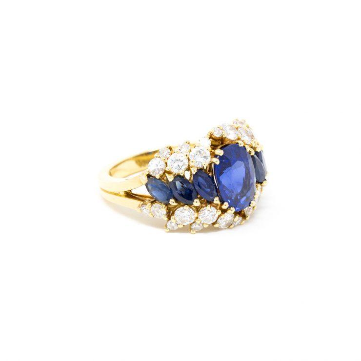 anello fascia oro giallo zaffiro diamanti brillanti roma