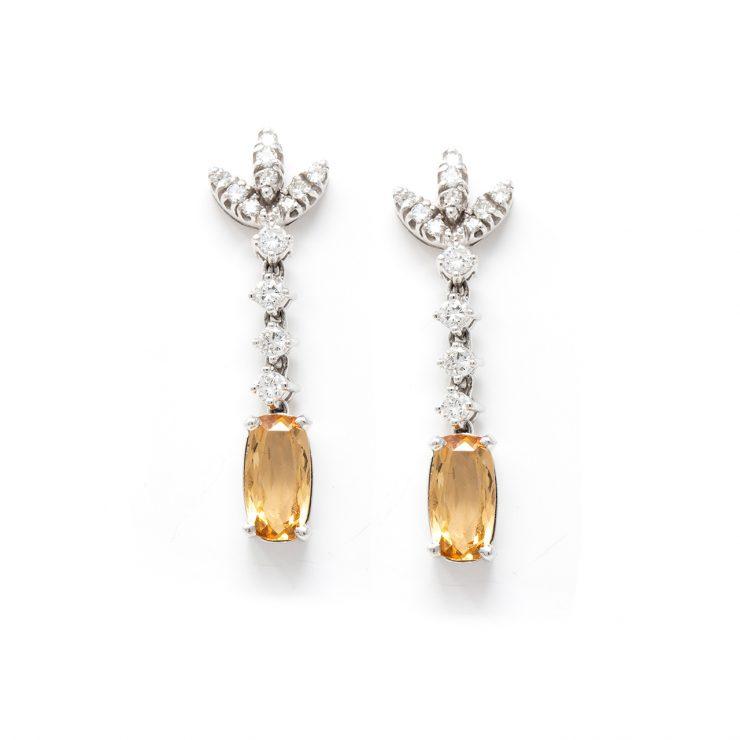 orecchini pendenti topazi oro bianco diamanti brillanti roma