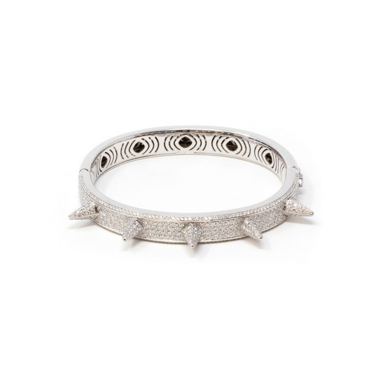 bracciale spuntoni oro bianco 18 kt e diamanti