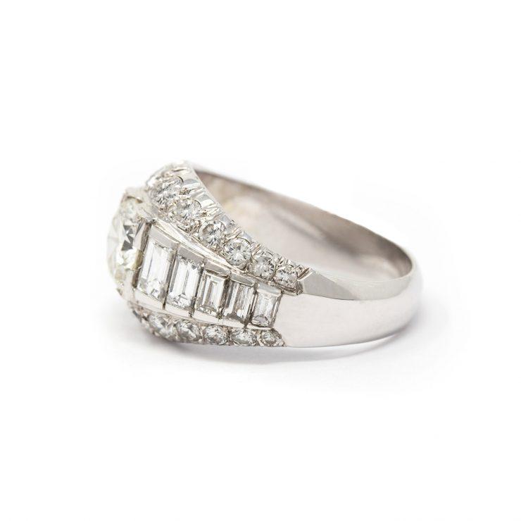 anello oro bianco 18 kt diamanti