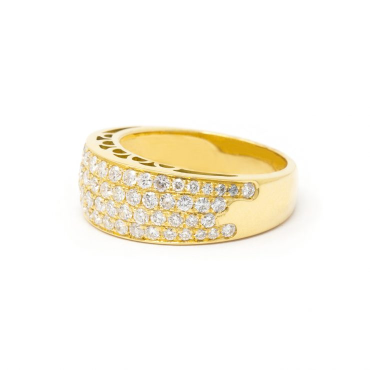 anello fascia goccia oro giallo 18 kt diamanti