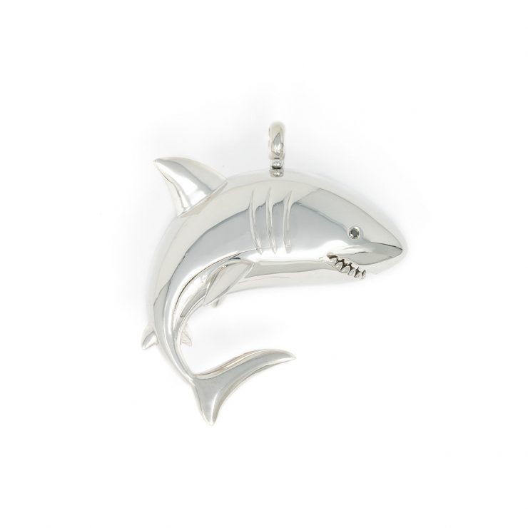 ciondolo squalo oro bianco 18 kt